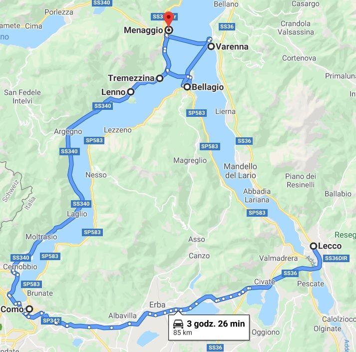 jezioro Como trasa zwiedzania