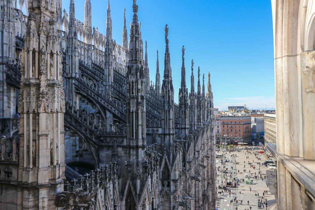 Katedra w Mediolanie widok z dachu.